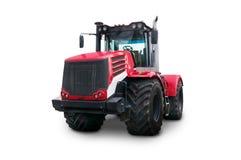 Новый красный аграрный трактор изолированный на белой предпосылке Стоковая Фотография