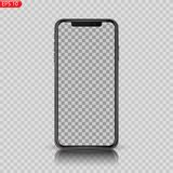Новый максимум детализировал реалистический смартфон подобный iphone изолированному на белой предпосылке иллюстрация штока