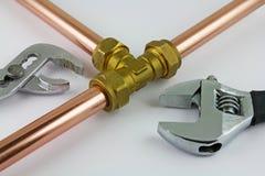 Новый медный pipework готовый для конструкции Стоковые Фото