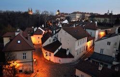 Новый мир с замком Праги, Прагой Стоковые Изображения RF