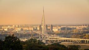 Новый мост Белграда на заходе солнца Стоковые Изображения