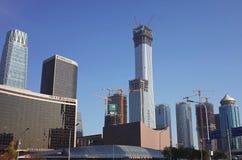 Новый небоскреб в городе ПЕКИНА, строительной площадке в CBD стоковое изображение