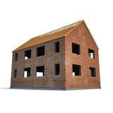 Новый дом будучи построенным с кирпичами на белизне иллюстрация 3d Стоковая Фотография