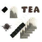 Новый пакетик чая при изолированные ярлыки черноты стоковая фотография rf