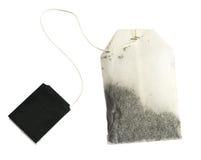 Новый пакетик чая при изолированные ярлыки черноты стоковое изображение