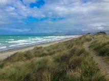 Новый пляж Брайтона, Кентербери, южный остров, Новая Зеландия стоковые изображения