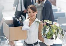 Новый работник приходя к первому разу офиса Стоковые Фотографии RF