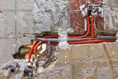 Новый трубопровод воды в стене Стоковая Фотография