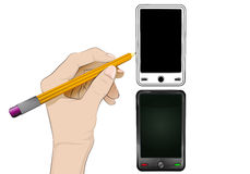 Новый умный телефон как изолированный человеческий вектор чертежа руки Стоковые Изображения RF