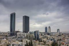 Новый центр города зоны abdali Аммана - вида на город Джордана Аммана современных зданий в Аммане Стоковое Изображение RF