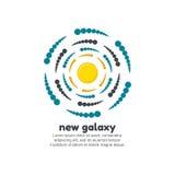 Новый шаблон логотипа галактики стоковое изображение rf