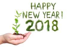 2018 Новых Годов Две тысячи 18 Приветствие формулирует счастливый Новый Год Объекты сделаны изолированных ветвей сосны на белом б Стоковая Фотография