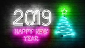 2019 Новых Годов Неоновые формы с светами иллюстрация штока