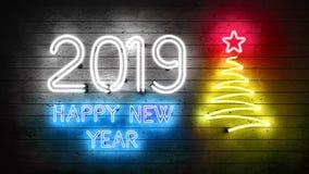 2019 Новых Годов Неоновые формы с светами бесплатная иллюстрация