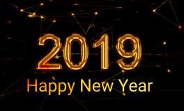 2019 Новых Годов светя золотому 3d стоковое фото
