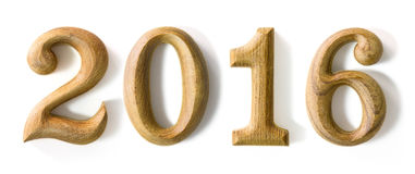 2016 Новых Годов в форме от деревянного Стоковые Фотографии RF