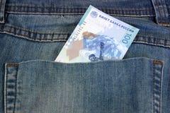 100 новых олимпийских рублей в его карманн Стоковые Изображения