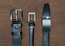 3 новых различных кожаных пояса Стоковое Изображение