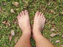 Нога над зеленой травой Стоковые Фотографии RF