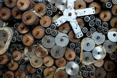 Нога обеденного стола сделанная из древесины, нержавеющей стали Стоковое Фото