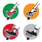 Нога отжимая педаль Иллюстрация вектора