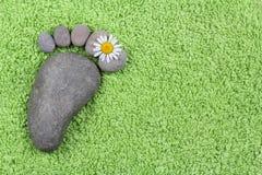 Нога с стоцветом на зеленом полотенце Стоковые Изображения