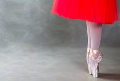 Ноги артиста балета на pointes, серой предпосылке Стоковые Фотографии RF