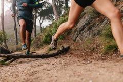 Ноги бегуна бежать на горной тропе Стоковое Фото