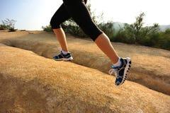ноги бегуна женщины бежать на горной тропе Стоковое Изображение RF