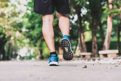Ноги бегуна jogging в утре на парке Стоковое Изображение