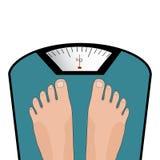 Ноги вектора на масштабе Концепция потери веса, здорового образа жизни Стоковые Изображения RF