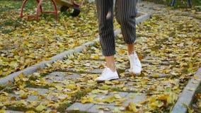 Ноги в ботинках на траве с листьями осени сток-видео