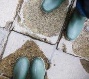 Ноги в зеленых резиновых ботинках в лужице Стоковая Фотография RF