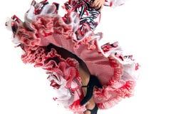 Ноги детали танцора фламенко в красивом платье Стоковые Фотографии RF