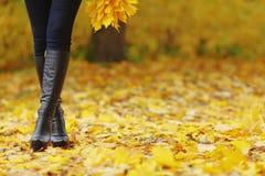 Ноги женщины в парке осени Стоковые Фотографии RF