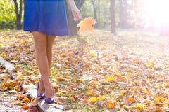 Ноги женщины в парке Стоковые Изображения RF