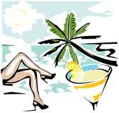 ноги женщины пляжа остатков Стоковая Фотография