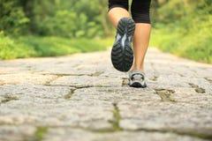Ноги женщины фитнеса на следе Стоковое Фото