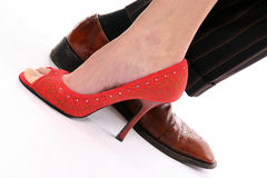 ноги женщины человека Стоковые Фотографии RF