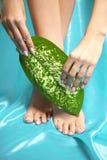 Ноги курорта, массажа ноги ног в курорте Забота ног женщины Чулки ног Стоковые Изображения RF