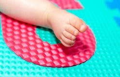 Ноги младенца на красочном поле Стоковое Изображение RF