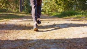 Ноги молодой женщины бежать в лесе стоковое фото