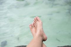 Ноги молодой женщины сидя на пляже и ноге креста с водой b Стоковое Изображение