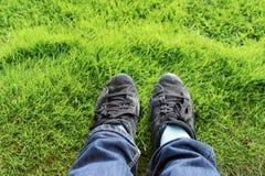 Ноги на зеленой траве Стоковая Фотография RF