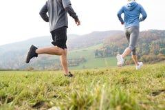 Ноги непознаваемых пар бежать в природе осени Стоковое Изображение RF