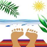 ноги одеяла пляжа Стоковое Фото