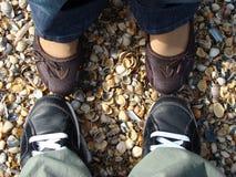 Ноги пар на раковинах моря стоковые фотографии rf