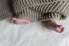 ноги поля глубины младенца поднимающее вверх близкой отмелое Стоковые Фото