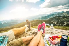 Ноги семьи путешественника Стоковая Фотография RF