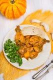 Ноги цыпленка с соусом тыквы и гриба Стоковое Фото